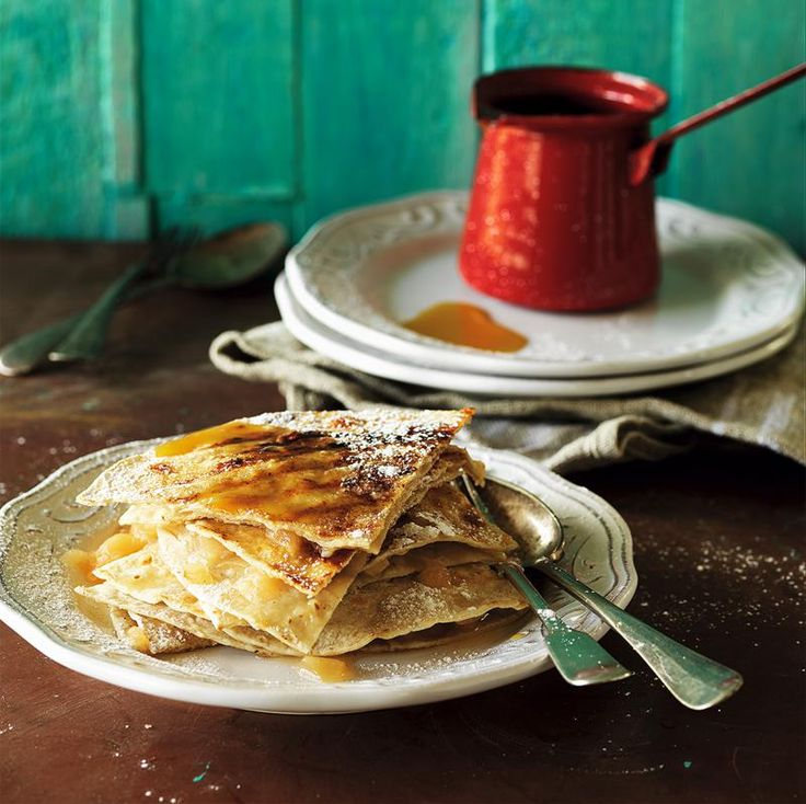 Sweet Apple Quesadillas with Warm Caramel Sauce