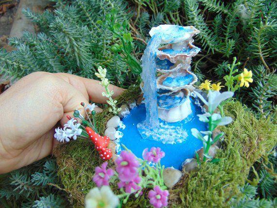 Thetinyshinycottage Fairy Fountain Waterfall Fairy Pond Miniature Pond Sea Shell Fountain Fairy Water Fairy