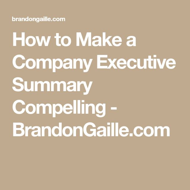 how to make an executive summary for a marketing plan