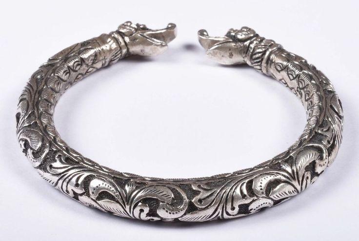925 Solid Sterling Silver Bangle Nice Rajasthan Traditional Desing 55 mm JSBG-38 #Handmade #Bangle