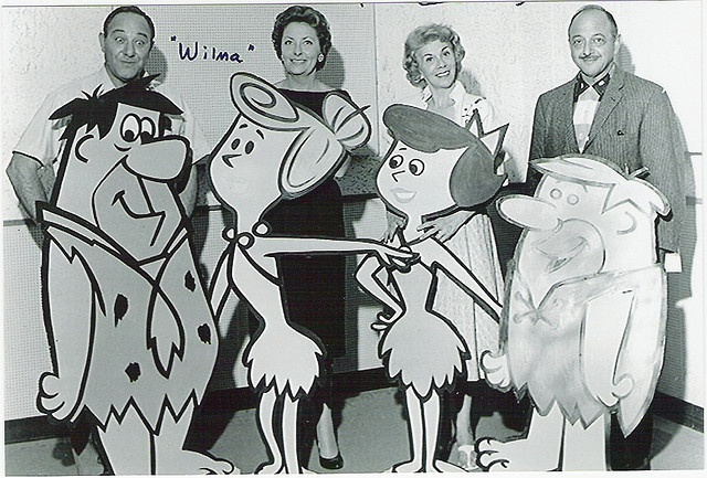 Meet the Flintstones voices...    Ever wonder what the voice actors who gave life and character to The Flintstone and Rubbles looked like? Well here they are (from left to right): Alan Reed as Fred Flintstone, Jean Vander Pyl as Wilma Flintstone, Bea Benaderet as Betty Rubble and the superstar Mel Blanc as Barney Rubble.