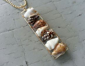 Wire Wrapped Shell Bar Necklace in 14k Gold Fill by mejiro on Etsy, $30.00