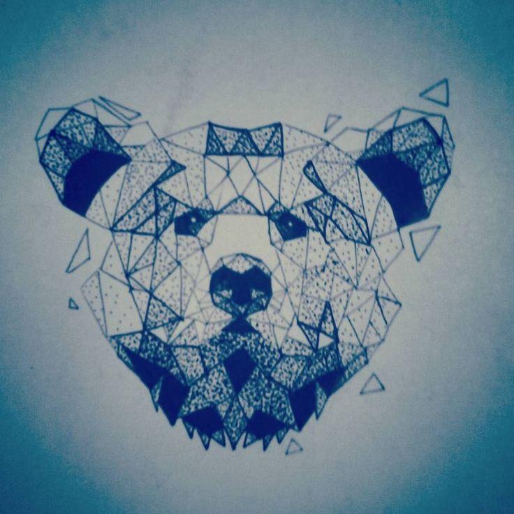 low poly bear my tattoo design