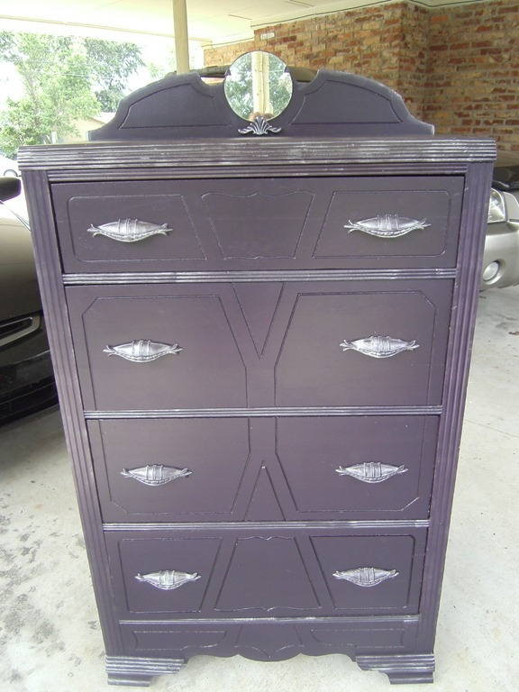 painted plum purple chest of drawers