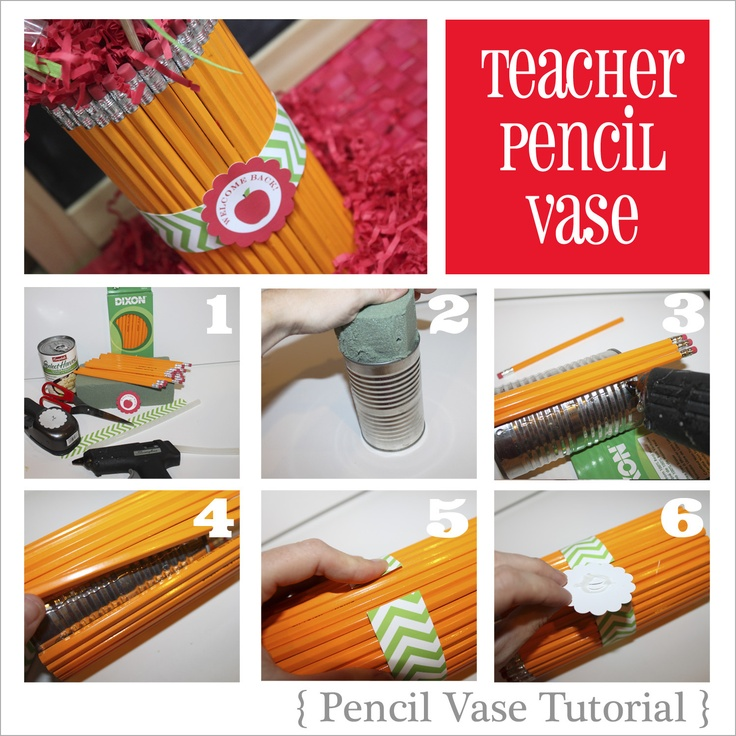 Teachers gift: the pencil vase tutorial.  Use yellow pencils, colored pencils or crayons.
