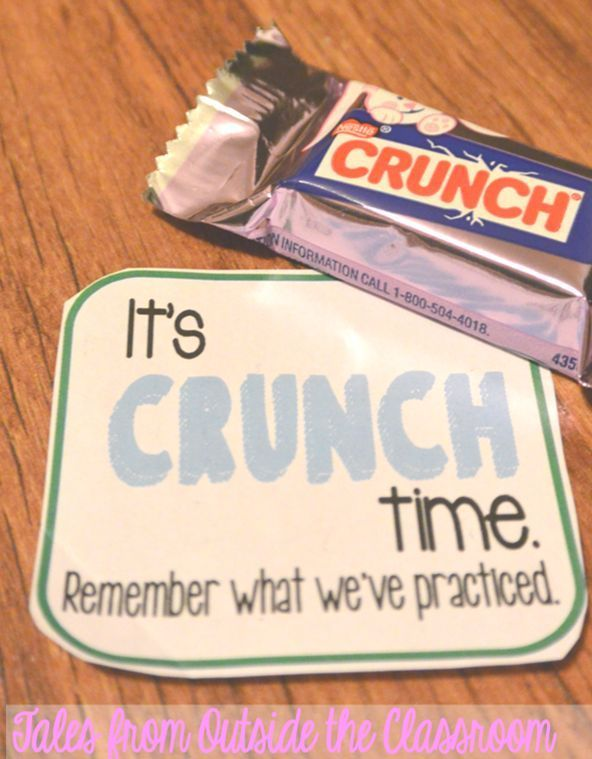 Use a Crunch bar and this cute #free tag to give kids a positive note before important testing.