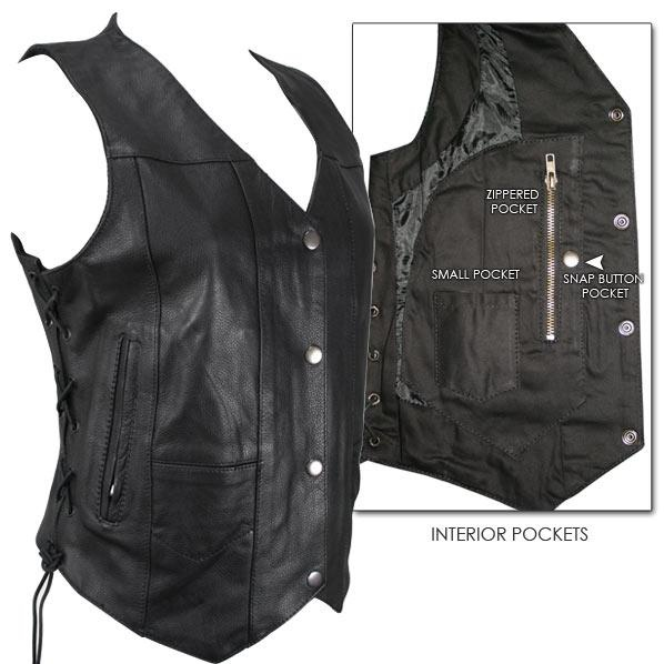 Women's 10 Pocket Cowhide Leather Motorcycle Vest $41.95 - This ladies classic motorcycle vest is made of durable cowhide leather with a 10 pocket design. This vest is meant for the serious lady biker with plenty of gear to carry around - there's plenty of room to keep your cell phone, wallet and keys safely with you. Also features adjustable side laces for a secure fit and comes fully lined.