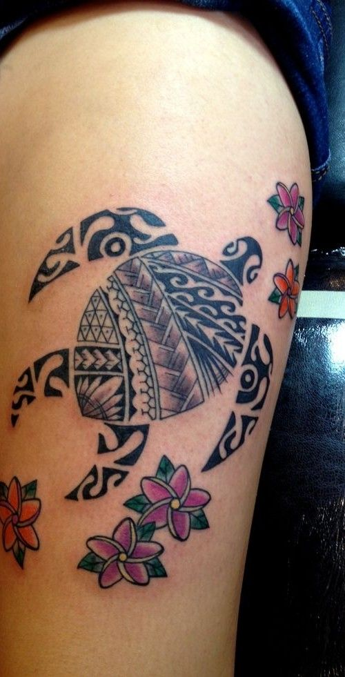 tribal hawaiian turtle tattoo