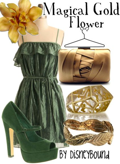 magical flower from Tangled: Green Shoes, Magic Golden, Girls Outfits, Graduation Outfits, Golden Flowers, Disneybound, Disney Bound, The Dresses, Gold Flowers