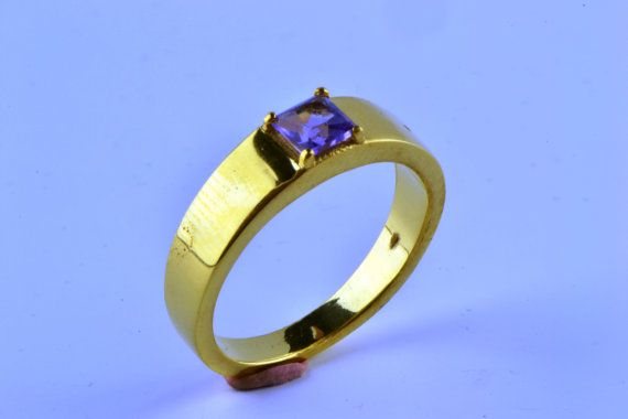 14K Gold Filled Square Natural Amethyst Ring by LuckyGirlAtelier