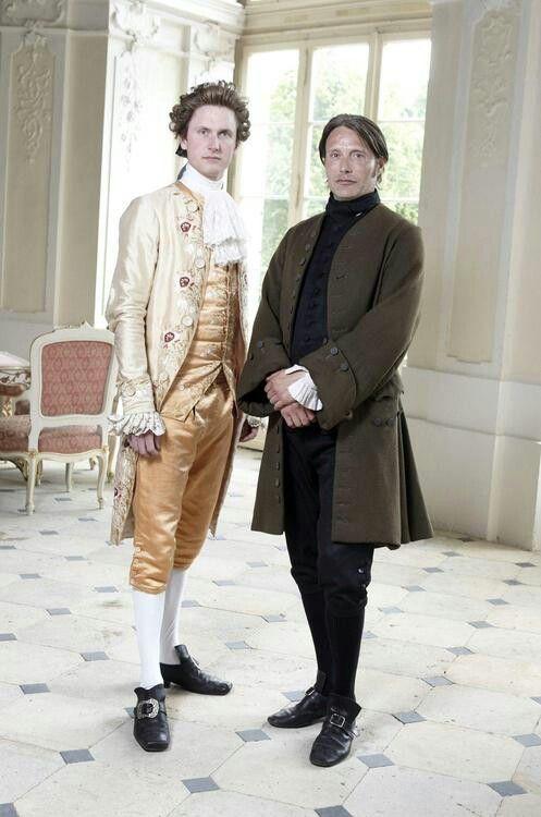 """Mikkel Boe Følsgaard as """"Christian VII"""" & Mads Mikkelsen as """"Johann Friedrich Struensee"""" in the A Royal Affair (2012)  """"En kongelig affære"""" ,  Costume Designer: Manon Rasmussen."""