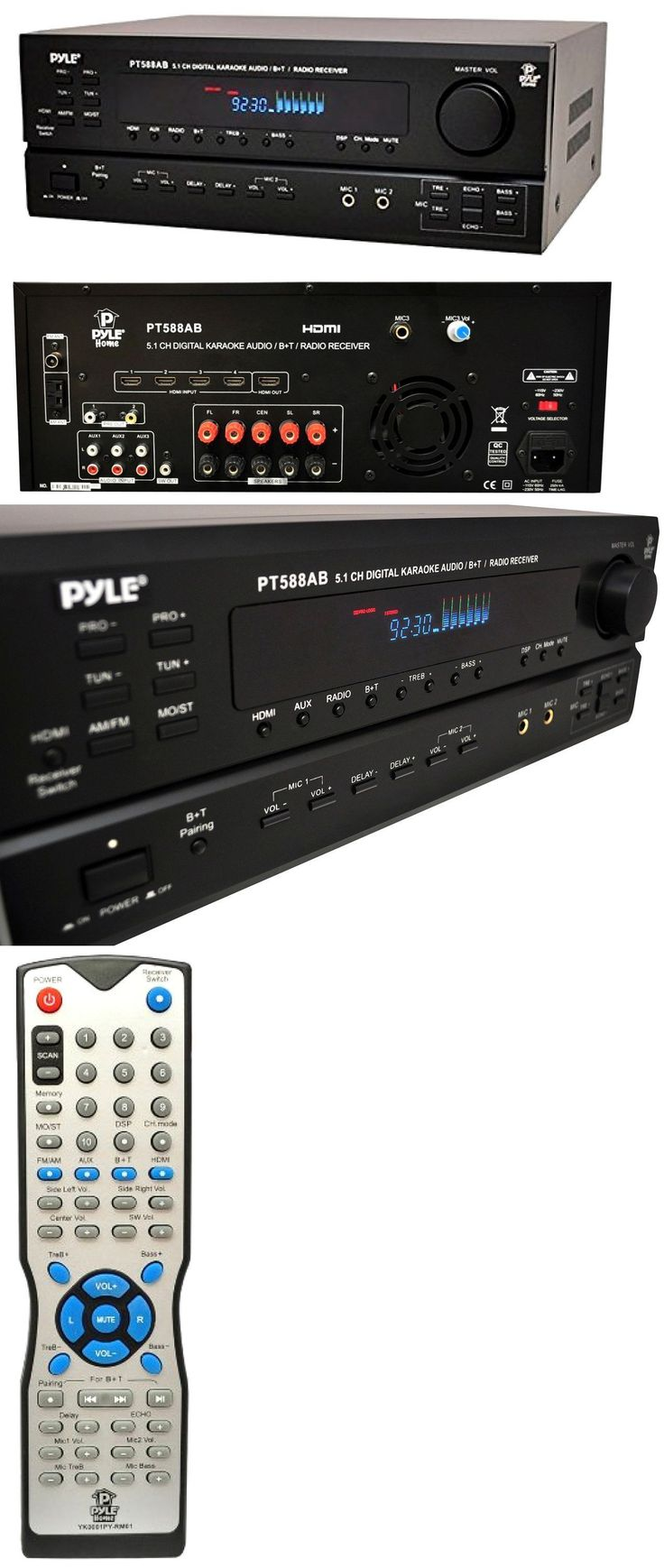 Home Theater Receivers: New Bluetooth Pyle 5.1 Ch Home Theater Surround Sound Receiver Amplifier Hdmi BUY IT NOW ONLY: $186.95