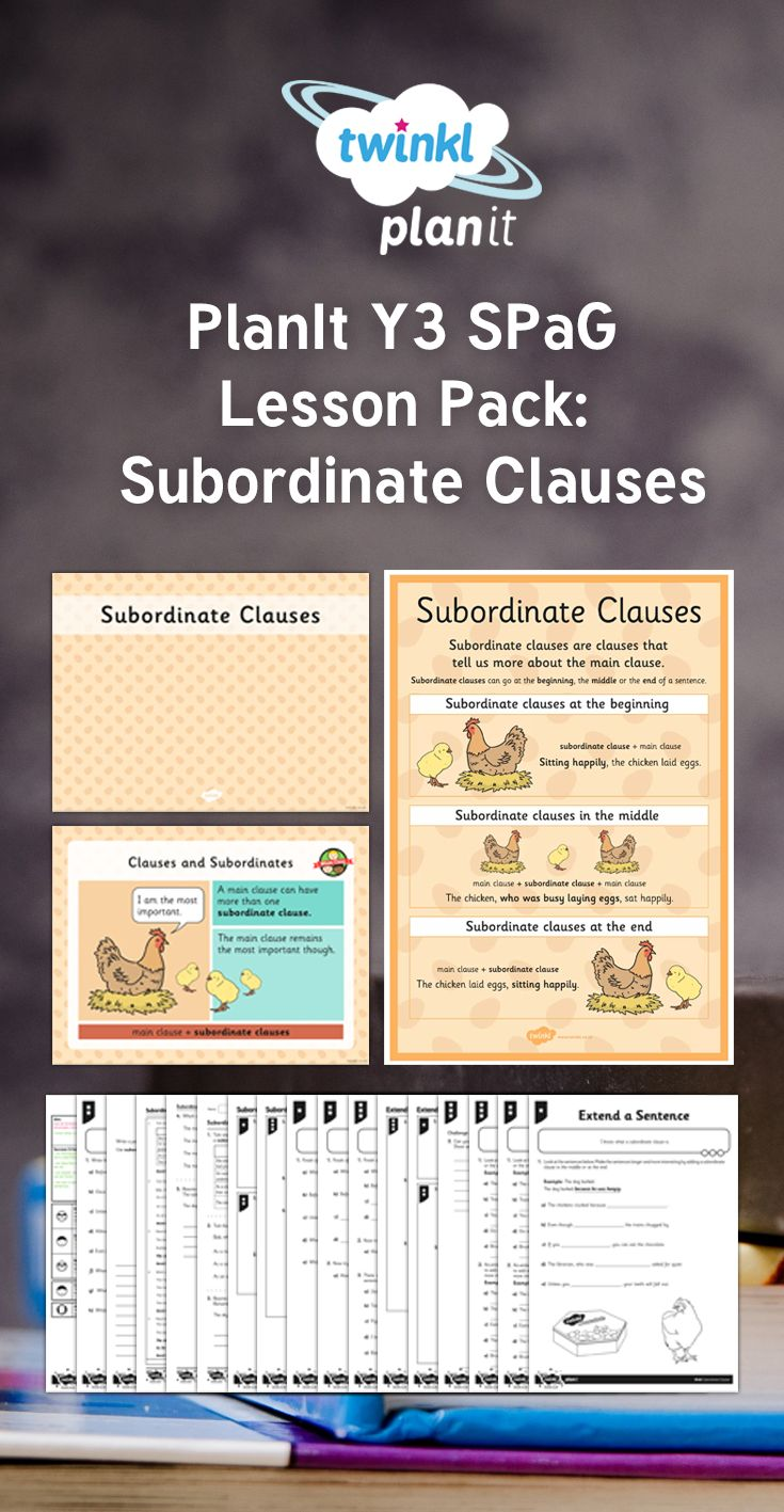 In this lesson pack children learn how to recognise and use subordinate clauses. The lesson pack contains a lesson plan, lesson presentation and accompanying activity sheets to scaffold children's learning.