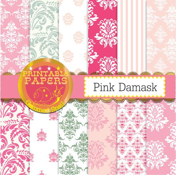 Pink damask digital paper 'Pink Damask' backgrounds x 12