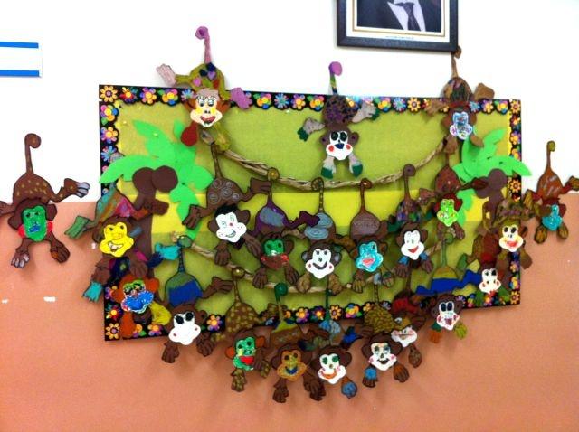 Monkey Display Board Wild Animals Theme Monkey Crafts