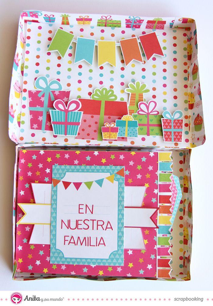 #Miniálbum con estructura de #estrella y #caja hecho con papeles de #scrapbooking de la marca española Anita y su mundo. #cumpleaños #regalo #fiesta #scrapbook #manualidades #DIY