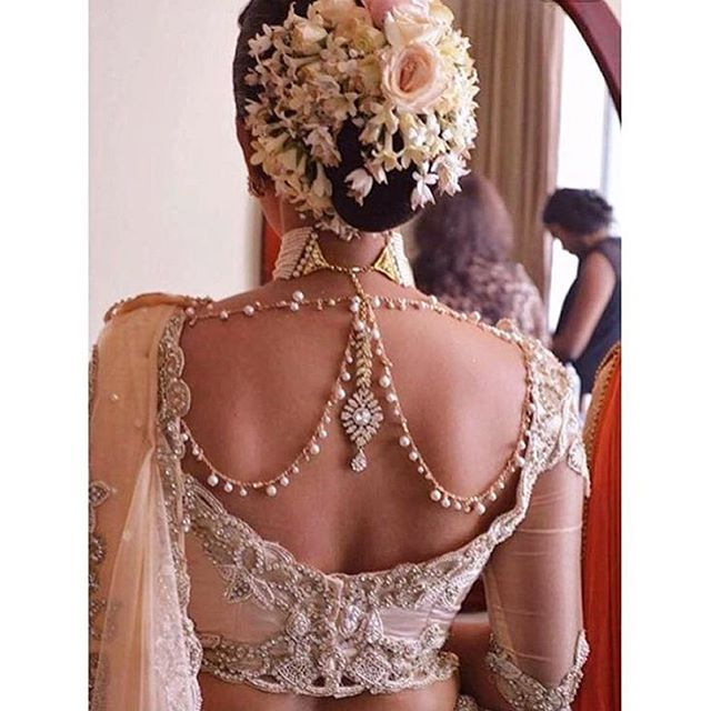 Necklace piece on back of saree blouse, perfect for an Indian bride blouse