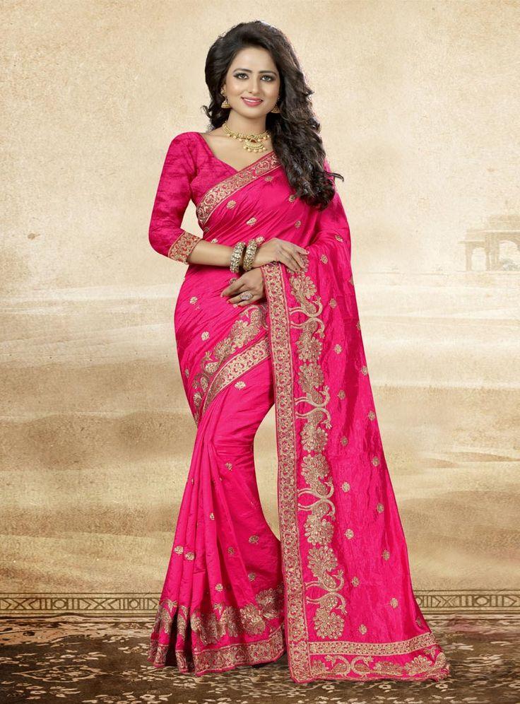 Magenta Art Silk Saree With Blouse 88338