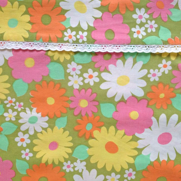 Fabulous Vintage Daisy Flower Flat Sheet - Pink Orange Yellow White - circa 1960s 1970s Flower Power - Fabric Scandinavian - 100% Cotton by JuniperRetro on Etsy