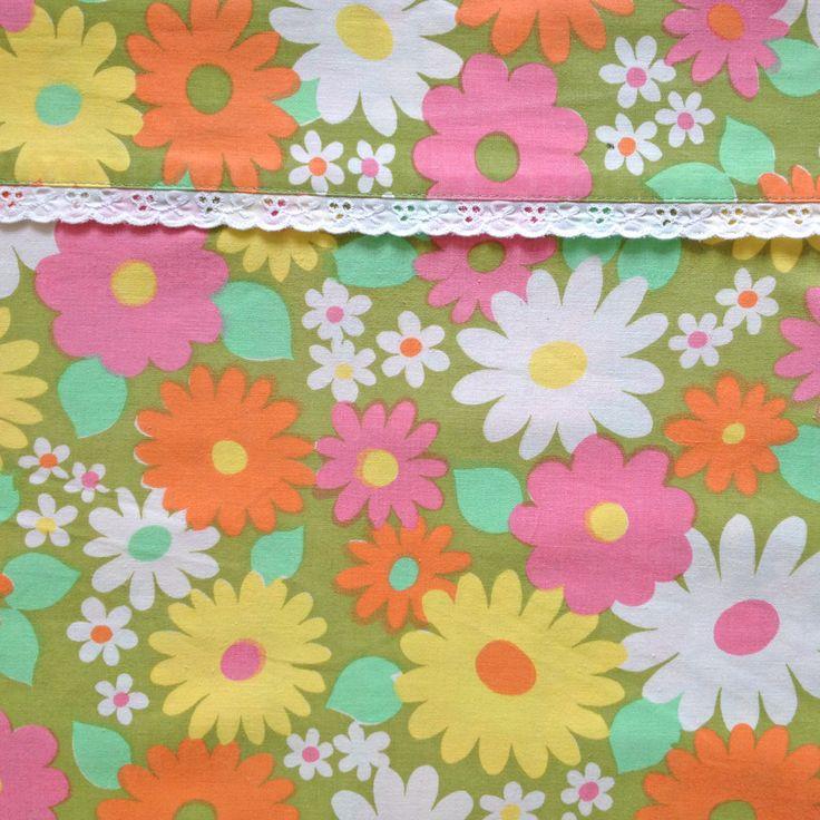 Fabulous Vintage Daisy Flower Flat Sheet - Pink Orange Yellow White - circa 1960s 1970s Flower Power - Fabric Scandinavian - 100% Cotton by JuniperRetro on Etsy