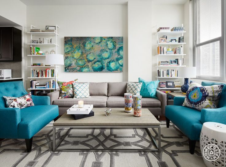 "A Bold, Rental-Friendly Redesign in Chicago - Pro Tip from Bonnie: ""Developing an eye for mixing patterns is a process of trial and error. Be willing to experiment with bold patterns that aren't as safe. Try starting with a neutral foundation and choosing a few colors that work well together. Then use each color a couple of times throughout the space"