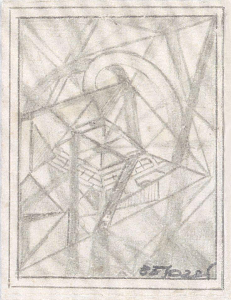 E. Besozzi pitt. s.d. (1959) Composizione matita su cartoncino cm. 7x6,5 arc. 631