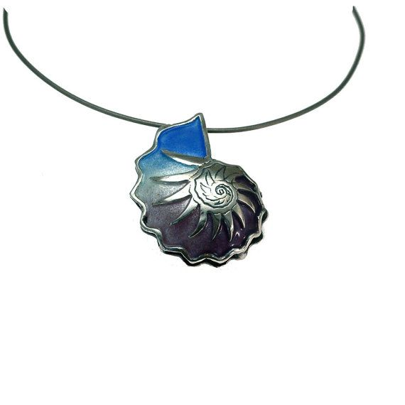 Nautilus Shell Necklace,Sterling Silver Necklace, Enamel Pendant, Summer Jewelry, Beach Wedding Necklace, Enamel Jewelry, Seashell necklace