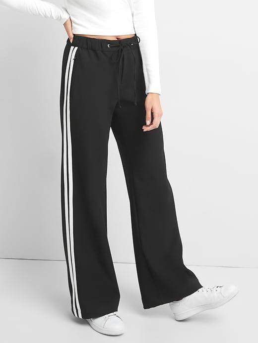 Gap Womens Sporty Wide Leg Twill Pants True Black Ropa Moda De Ropa Ropa De Mujer