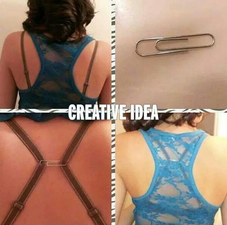 Use a paper clip to hide bra straps for wearing a racerback style top.