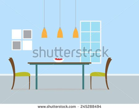 Modern dining room interior with blue wall