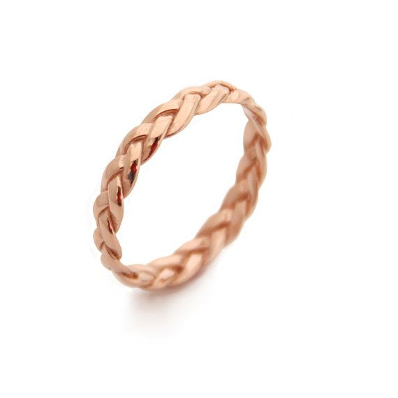 Braided 14K Rose Gold Plated Ring, 100% Top quality Materials, 100% handcrafted for each and every customer. I love minimalism and this is a keeper! One of my simple rings, great for everyday. It is your true Etsy jewelry, plaited and braided completely by hand. It makes a great alternative marriage ring. ★PRODUCT DETAILS★ > This Braided Rose Gold Plated Ring is handcrafted by me, using only top quality 14k Rose gold Plated Sterling Silver > The Gold Plating is 2 microns instead of the…