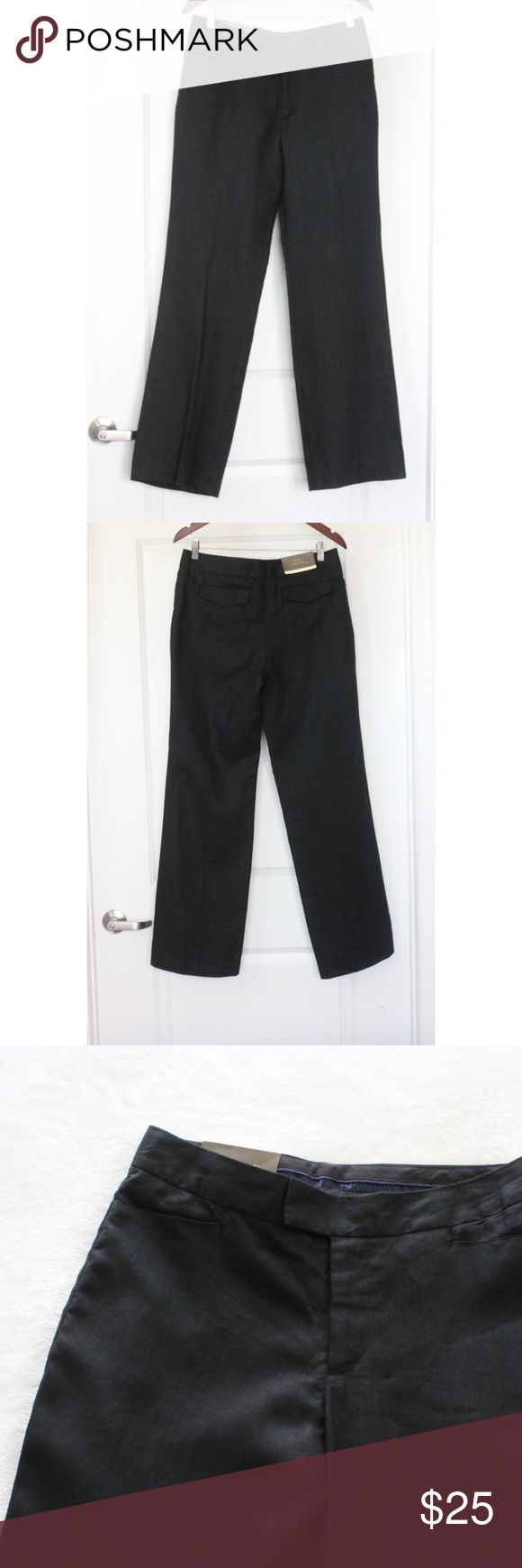 "NEW MERONA Navy Blue Dress Pants Women's Linen NEW MERONA Navy Blue Dress Pants Women's Linen Bootcut Trousers Linen Size 8 Fully lined New with tag attached! From a pet & smoke free home  Measurements (approx):  inseam 31"" front rise 10"" waist 32"" hips 39"" leg opening (flat) 10"" Fabric:  100% Linen Merona Pants Trousers"