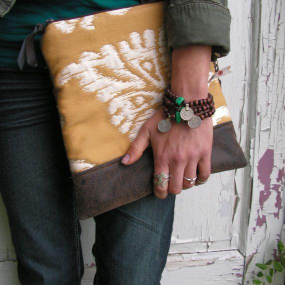 Ikat FoldOver Clutch Aztec Purse Ecofriendly Bag by GypsyIntent, $42.00