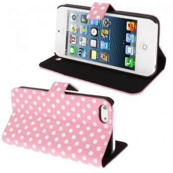 iPhone 5/5S Cases : Dot Leather Case for iPhone 5 & 5s - Pink