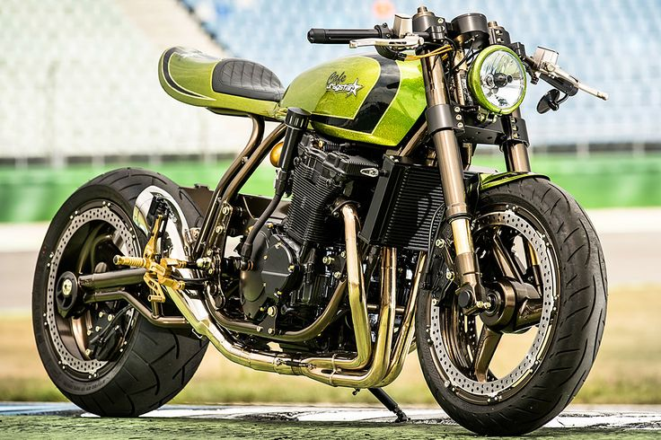 Breaking all the rules and still getting registered. The Custom Wolf 'Cafe Dragstar'. An unconventional cafe racer that's got enough power to rip the roof off a Bavarian beer hall - via returnofthecaferacers.com