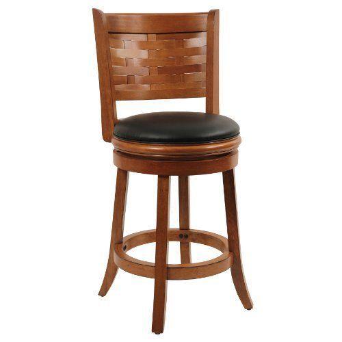 "24"" Boraam Chair Sumatra Swivel Stool Leather Brushed Oak Bar Dinning Room Decor #Boraam #Modern"