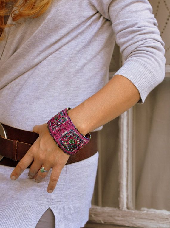 Crazy Quit Embroidery silk embellished bracelet with by moligami