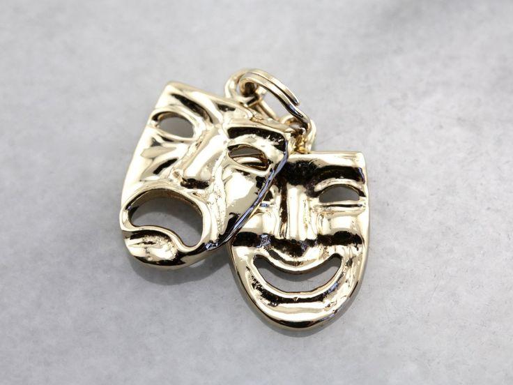 Comedy and Tragedy Masks Charm, Gold Drama Masks