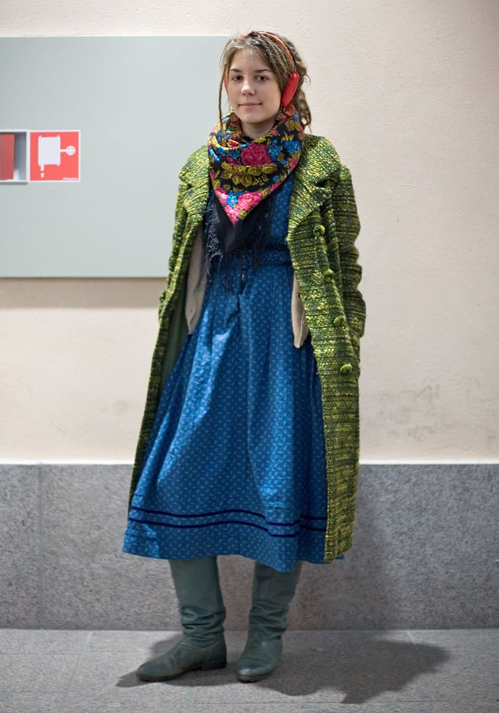 """Veera, 14  """"I'm wearing my mother's boots because my own boots got broken. The jacket cost 3,5 euros at the recycling center. The dress is second hand, too. I just had to buy it when I saw it. I always wear a dress. Valtteri and Hietalahti Markets are the best places to shop in Helsinki.  I think Janis Joplin had a great style. Music and paintings at Ateneum Art Museum inspire me."""""""