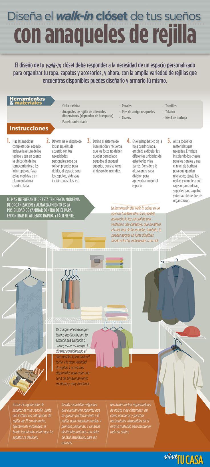 Diseña el walk-in clóset de tus sueños. Con la amplia variedad de rejillas que encuentras disponibles puedes armar un walk-in clóset para organizar de forma sencilla tus prendas.