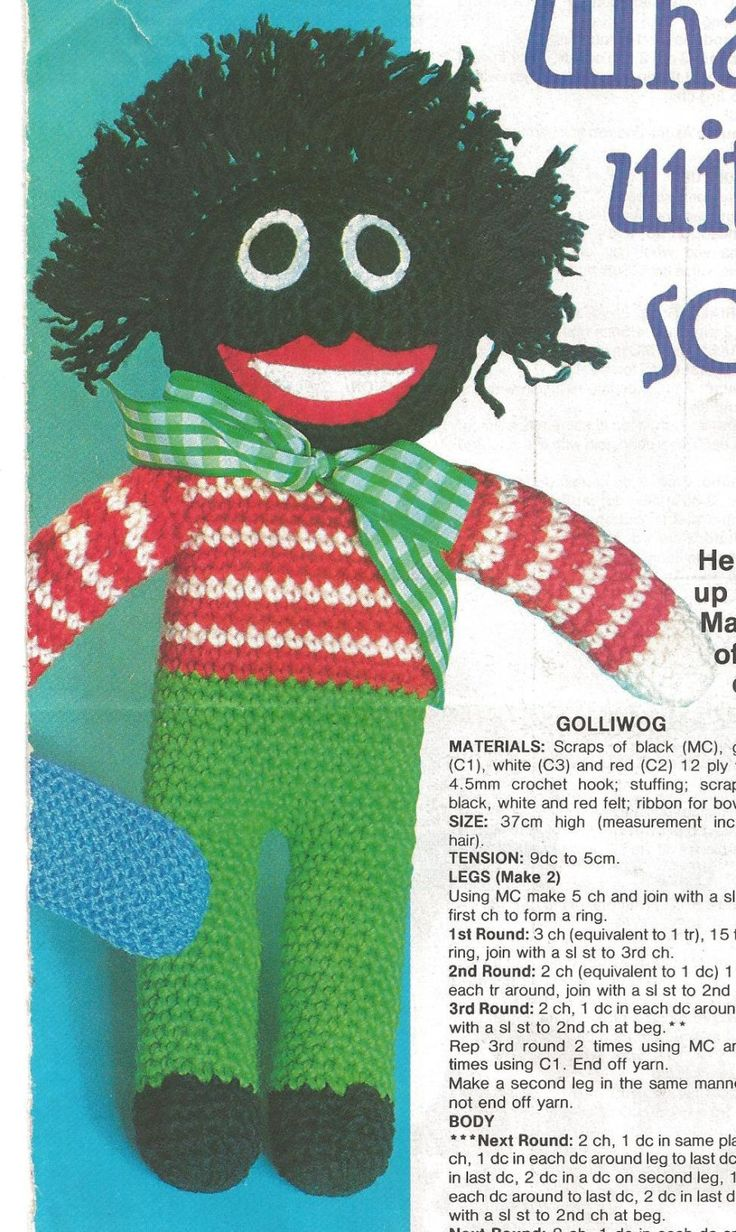 Vintage 80s Pattern What To Do with Little Scraps Of Wool Golliwog Magazine by PreciousIdentity on Etsy