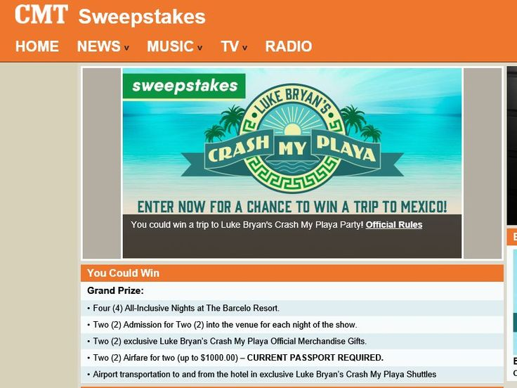 Enter the Luke Bryan Crash My Playa Fly Away Sweepstakes for a chance to win a 4-night trip for two to Mexico!