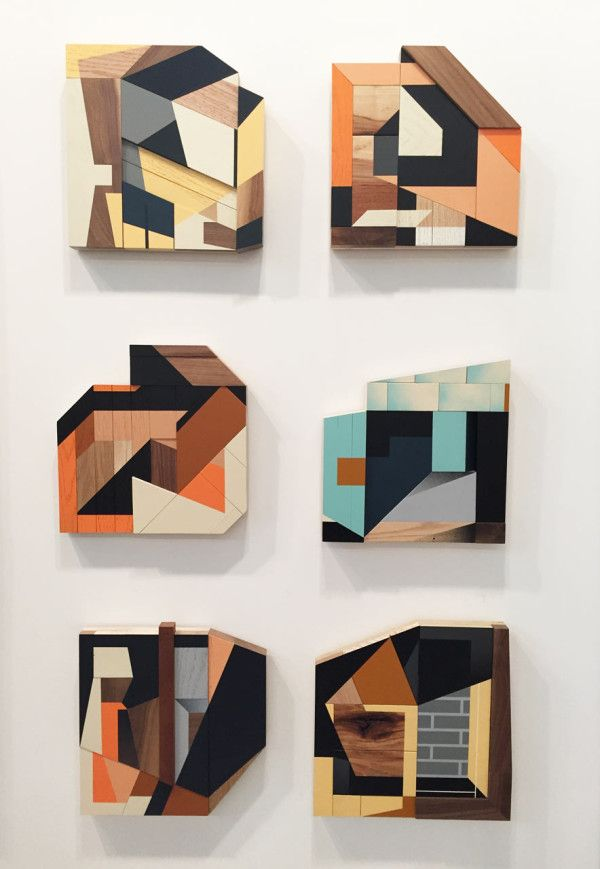 Drew Tyndell's collage-like wall sculptures of abstract houses