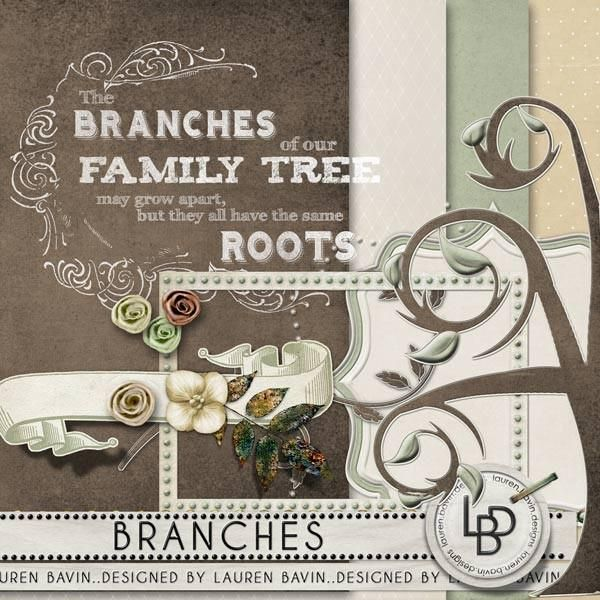 Branches Softly natural tones of sage green and donkey brown combine with embossed elegant elements to make a very easy to use and adaptable heritage style kit for scrapbooking your family history and more.