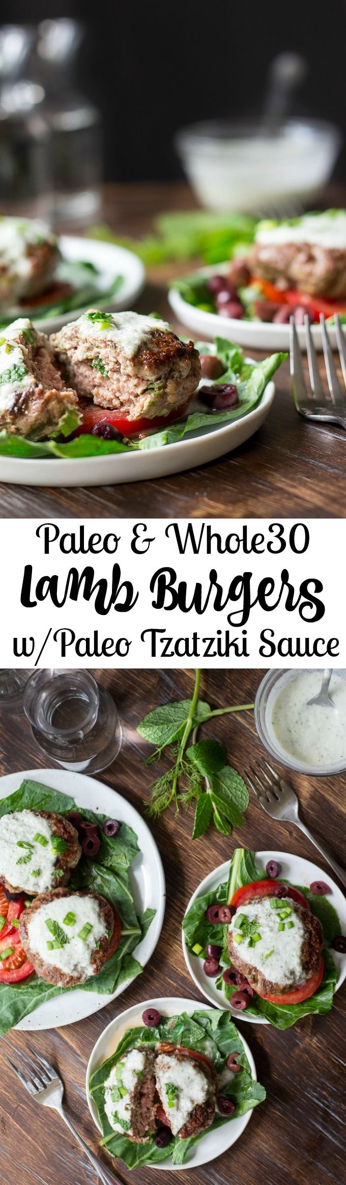 Paleo Lamb Burgers topped with dairy free Tzatziki.  Whole30 friendly, quick and easy!