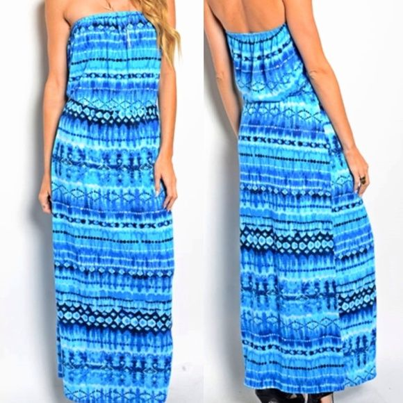 """VACATION in a DRESS! The """"GOOD BLUES!"""" This strapless blue sundress has a blouson top and super soft fabrication! Perfect for beach, pool parties, vacation, reading by the lake... Wear over your bathing suit. Throw it in your beach bag or suitcase and go! This will become one of your favorite summer staples! I promise! Made in S-2, M-2, Dresses"""