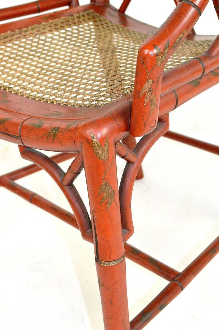 This pair of large burmese arm chairs is no longer available - Pair Of English Faux Bamboo Red Chippendale Style Arm Chairs