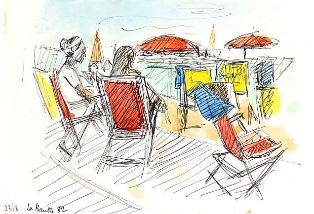 La Baule Beach, 1982 on OneKingsLane.com. Ink and watercolor drawing of two people relaxing on the beach in La Baule, France by French artist M. Scali, 1982. Dated lower left.