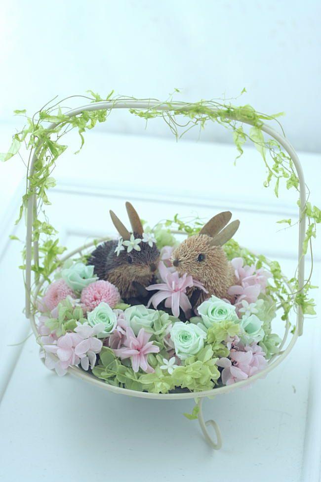 受付装花 花の野原のひよことうさぎ  : 一会 ウエディングの花