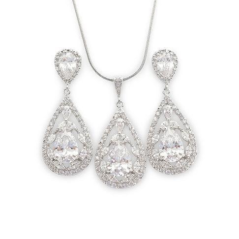 Crystal Wedding Jewelry Set- Platinum plated